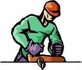 A vector illustration of a carpenter, planing a plank.