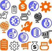 Um conjunto de 21 ícones de negócios.