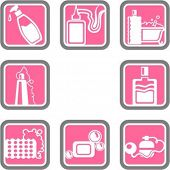 A set of 8 cosmetics vector icons of.