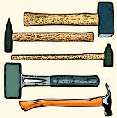 A set of 5 vector illustrations of hammers.
