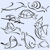 A set of 9 vector illustrations of fishes and animals in unique exquisite and ornamental style.