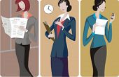 A set of 3 businesswomen vector illustrations. 1) A businesswomanreading a newspaper. 2) A businesswoman or a secretary making notes. 3) A businesswoman or a student girl calling a contact.