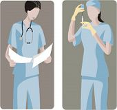 A set of 2 medical illustrations. 1) Surgeon analysing the results before the operation. 2) Surgeon preparing a medicine.