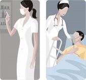 A set of 2 medical illustrations. 1) Medic preparing a medicine. 2) Doctor helps a patient with trouble breathing.