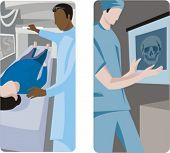 A set of 2 medical illustrations. 1) Doctor scanning a patient. 2) Medic looking a x-ray.