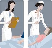 A set of 2 medical illustrations. 1) Doctor and patient. 2) Temperature measuring.