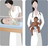 A set of 2 medical illustrations. 1) Midwive examines a white baby. 2) Midwive holding brown baby.