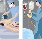 A set of 2 medical illustrations. 1) Surgeon preparing a patient for a surgical operation. 2) Doctor preparing a medicine for operation.