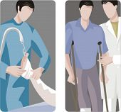 A set of 2 medical illustrations. 1) Doctor applying plaster to a broken leg. 2) Medic helping a patient to use crutches.