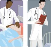 A set of 2 medical illustrations. 1) Obstetrician examines a pregnant woman. 2) Medic reading the re