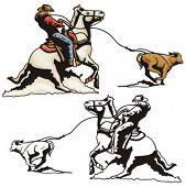 Ilustração de um bezerro de rodeio roping.