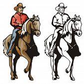 Illustration of a cowboy riding a horse.