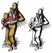 stock photo of cree  - Illustration of an indian mother holding a baby - JPG