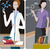 Teacher illustrations series.  1) Chemistry teacher teaching a class. 2) Chemistry teacher teaching a class and writing a chemical formula on a blackboard.