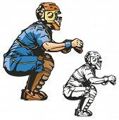 Baseball catcher. Vector illustration