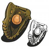Baseball glove and a ball. Vector illustration