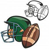American football ball and a helmet. Vector illustration