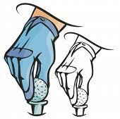 Mão colocando uma bola de golfe. Ilustração vetorial