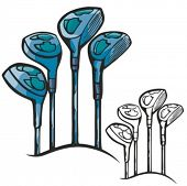 Golf sticks. Vector illustration