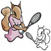 Squirrel Tennis Mascot. Great for t-shirt designs, school mascot logo and any other design work. Rea