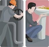 A set of 2 vector illustrations of plumbers. 1) Illustration of a plumber fixing a pipe.  2) Illustration of a plumber installing a sink.