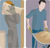 Een set van 2 vectorillustraties van bouwers. 1) Builder die een zak cement. 2) Builder duwen een w