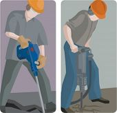 A set of 2 vector illustrations of builders using jackhammers.