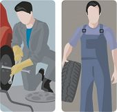 A set of 2 vector illustrations of auto mechanics changing tyres.