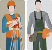 A set of 2 vector illustrations of builders. 1) Surveying development. 2) Builder holding hard head.