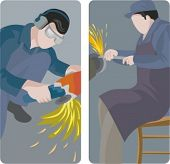 A set of 2 vector illustrations. 1) Worker cutting a metal with a grinder. 2) Grinding worker.