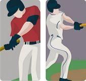 Sport illustrations series. A set of 2 baseball batters.