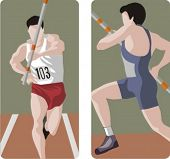 Sport illustrations series. A set of 2 athlete illustrations.