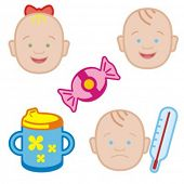 Baby icons series. Check my portfolio for much more of this series as well as thousands of similar a