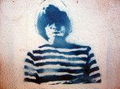 Grafitti Stencil Man Stripped Shirt