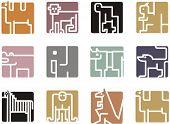 Square animal icon series - African animals.
