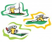 Bunny table tennis and billiard, vector. Great for t-shirt designs, mascot logos and other designs.