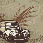 foto of street-rod  - Hot rod background with a retro car  - JPG
