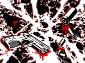 Crime scene background with gun and bullets