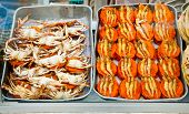 Spicy flat cakes with crabs and prawns on dishes in Colombo city, Sri Lanka poster