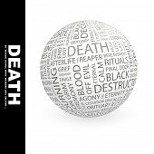 DEATH. Globe with different association terms. Wordcloud vector illustration.