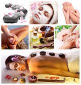 Colección de tratamientos de spa y masajes.