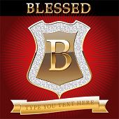 image of letter b  - Shield in gold and brilliant with alphabet Letter b - JPG