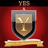 Shield in gold with alphabet letter y