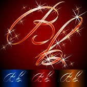 Ribbon styled vector gala alphabet. Applicable for dark and light background. Letter b