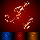 Ribbon styled vector gala alphabet. Applicable for dark and light background. Letter i