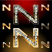 Vector illustration of boldest golden letters with shining diamonds. Character n