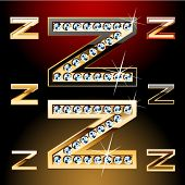 Vector illustration of boldest golden letters with shining diamonds. Character z