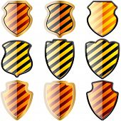 Set of shields in black and yellow stripes