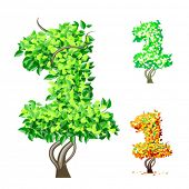 Vektor-Illustration eine zusätzliche detaillierte Baum Alphabet Symbole. Leicht abnehmbare Krone. Zeichen 1