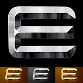 Metal chopped letters. Character e